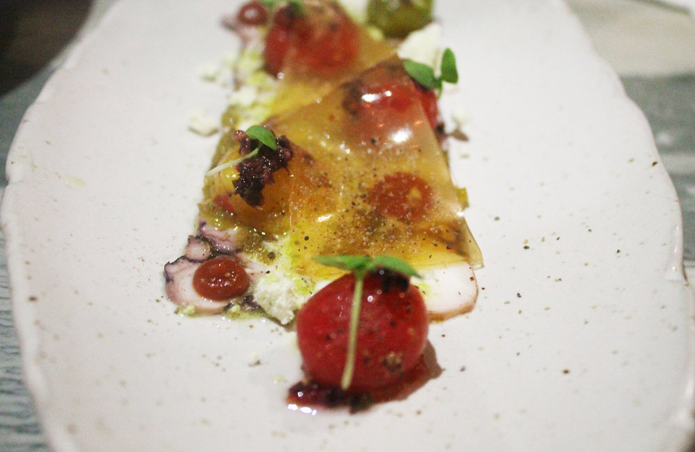 Octopus Terrine: Served with Watermelon Gazpacho and Burrata