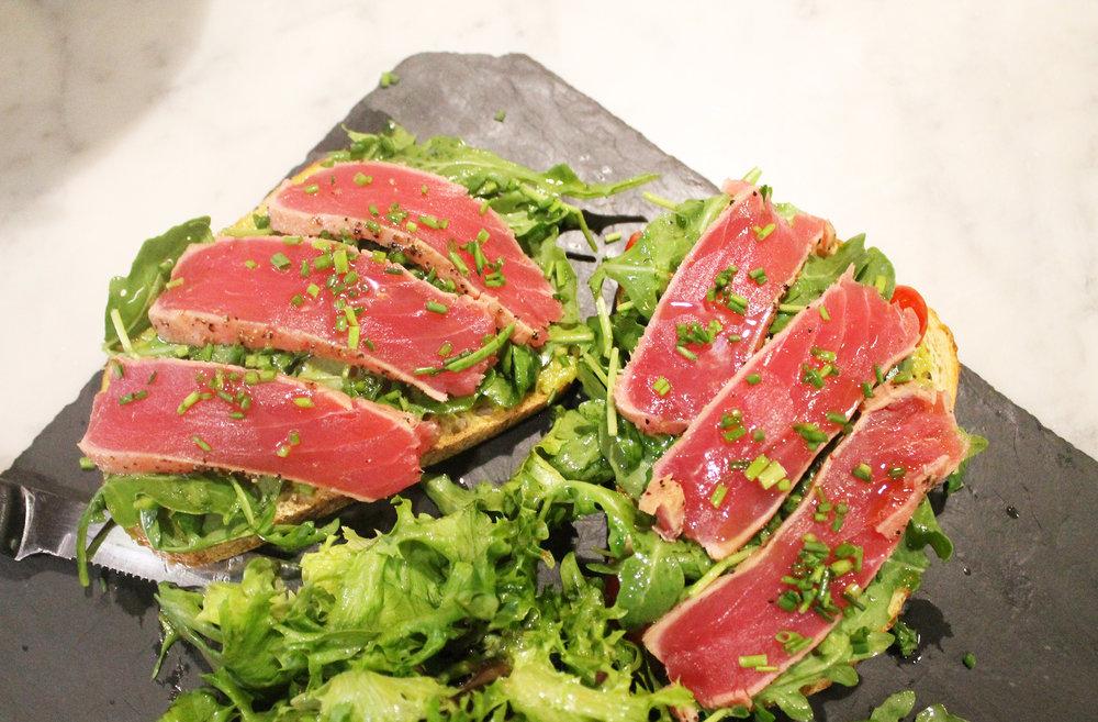 California Tartine: tuna, arugula, heirloom tomatoes, avocado mayo, sourdough bread