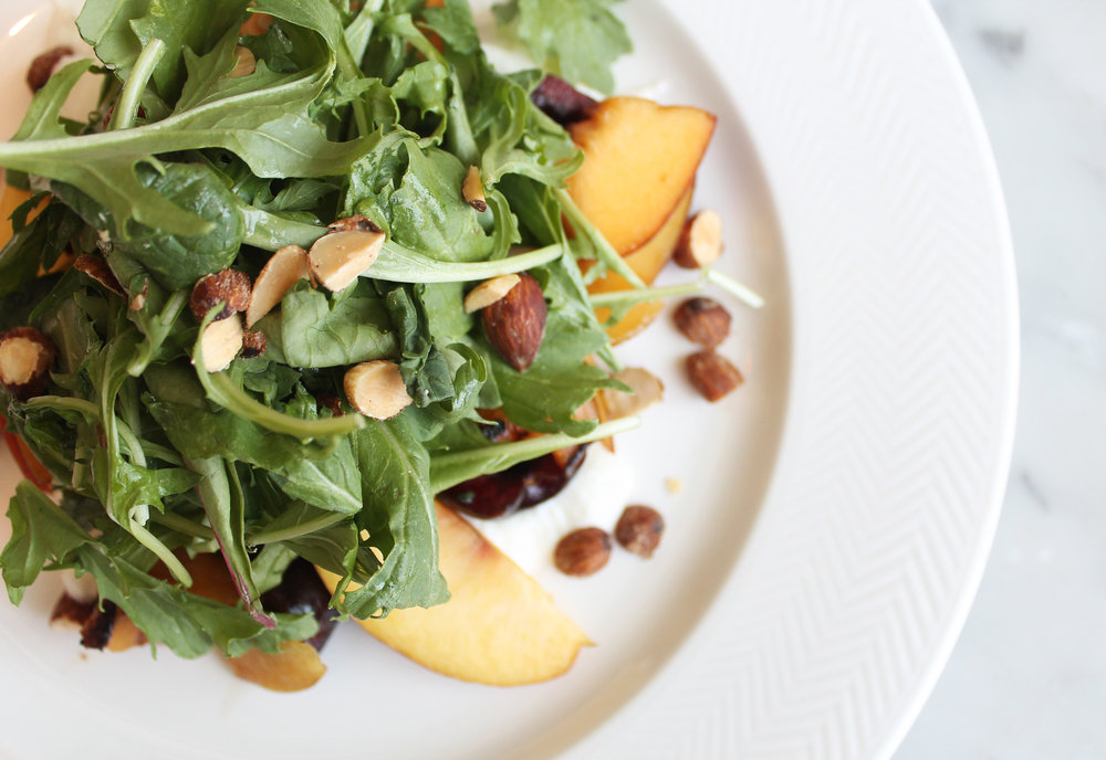 Stone Fruit Salad: Mizuna, Burrata, Smoked Almonds, Oregano Vinaigrette