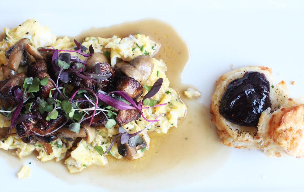 Duck Duck Goose: Scrambled Duck Eggs, Foie Gras, Seasonal Mushrooms, Duck-Porcini Jus, Blackberry Jelly Toast
