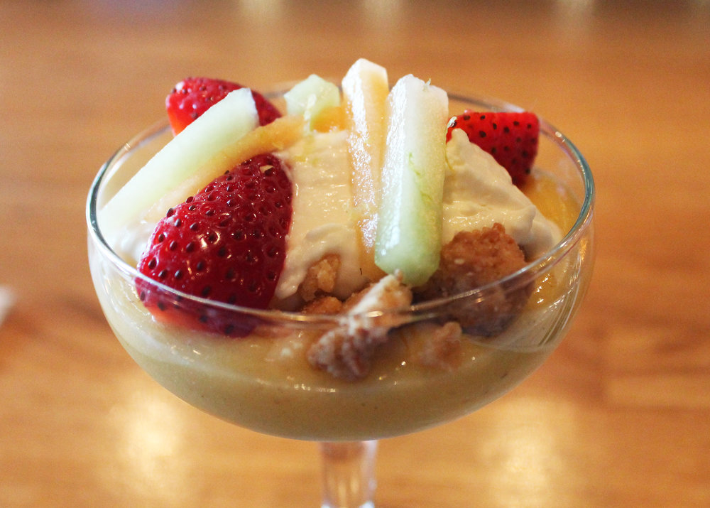 Key Lemon Parfait : Riesling Marinated Melons & Berries, Honey & Goat Cheese Whipped Cream, Hazelnut Strudel