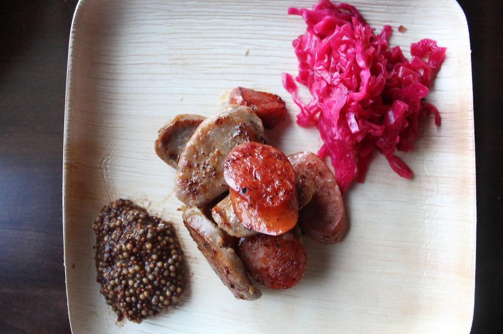 Zach's Sausage Plate: IPA Sausage, Fermented Sauerkraut, Smoked Porter Whole Grain Mustard