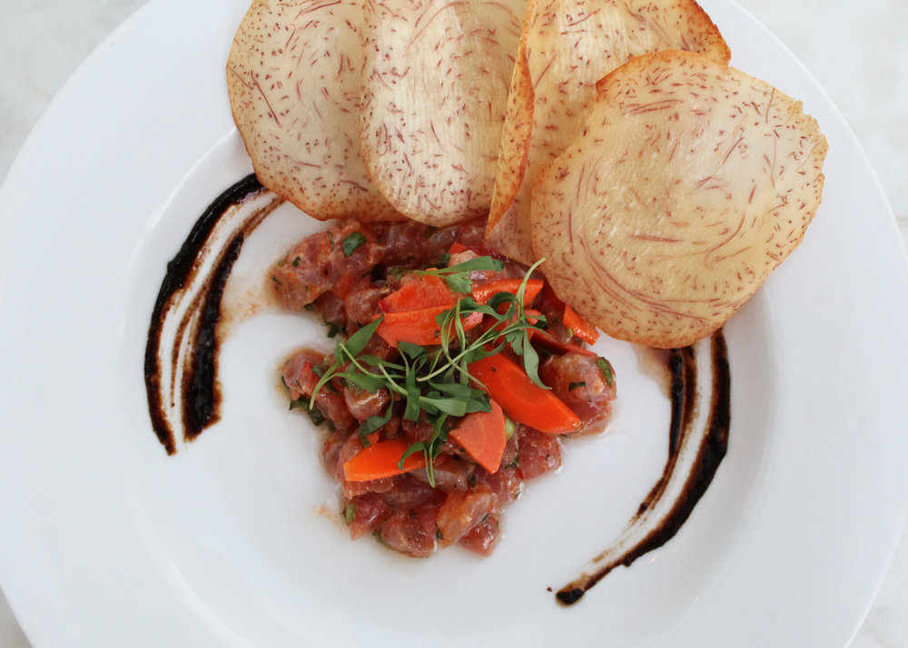 Ahi Tartare: Sambal, Ginger, Pickled Carrots, Black Garlic, Taro