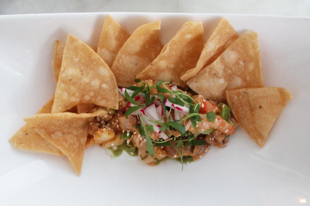 Hamachi Crudo: Baja Shrimp, Habanero, Serrano Pepper, Lime