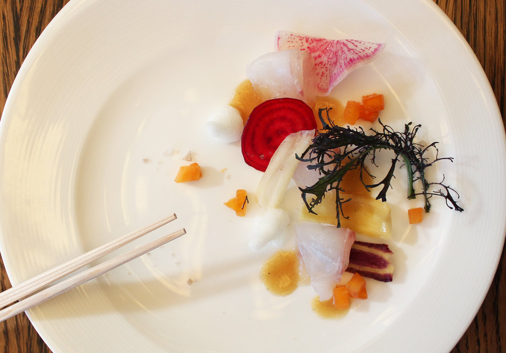 Seabream and Fuyu Persimmon with Yuzu Foam, Miso Vinaigrette, Smoked Maldon Salt, Mustard Frill, and Watermelon Beets