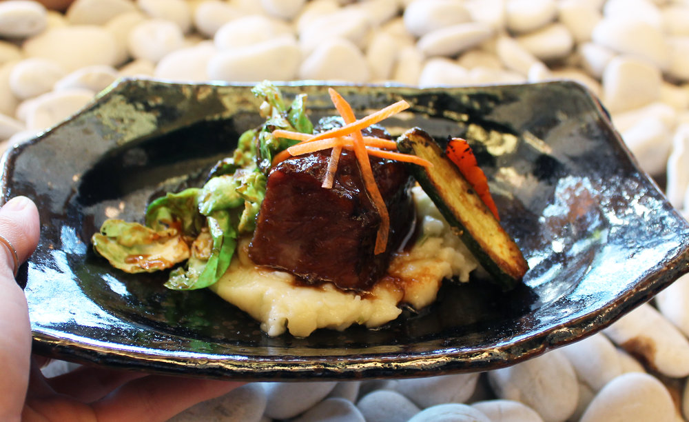 Soy Braised Short Rib, Kizame Mashed Potato, Kimchee Brussels Sprouts, Roasted Baby Zucchini and Carrots