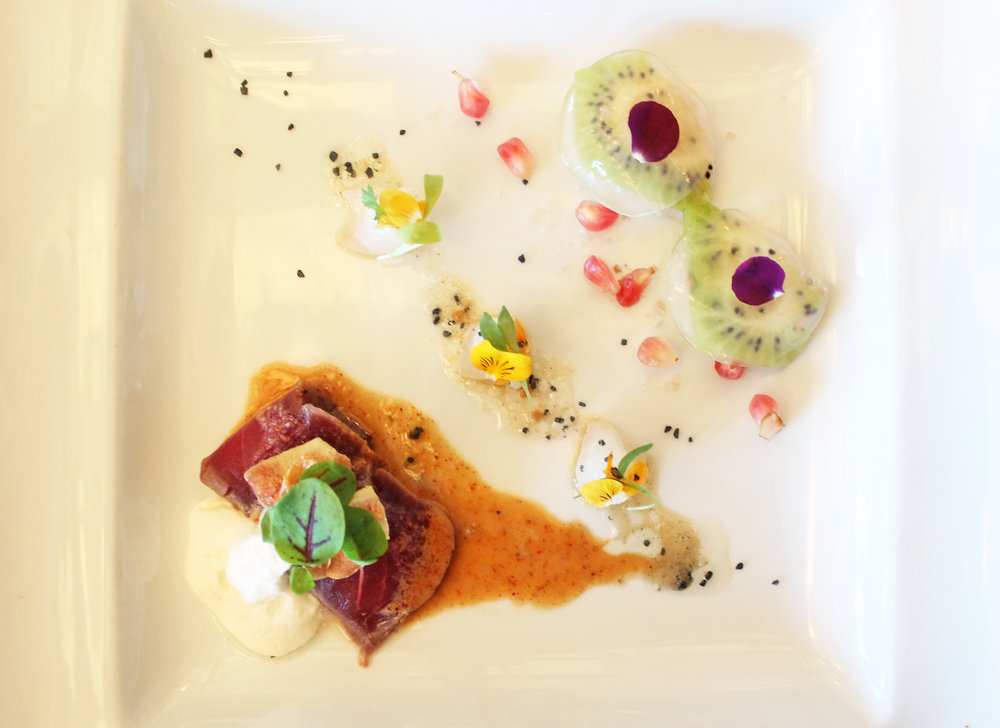 Trio of Bluefin Tuna, Fluke Kumquat, and Hokkaido Scallops