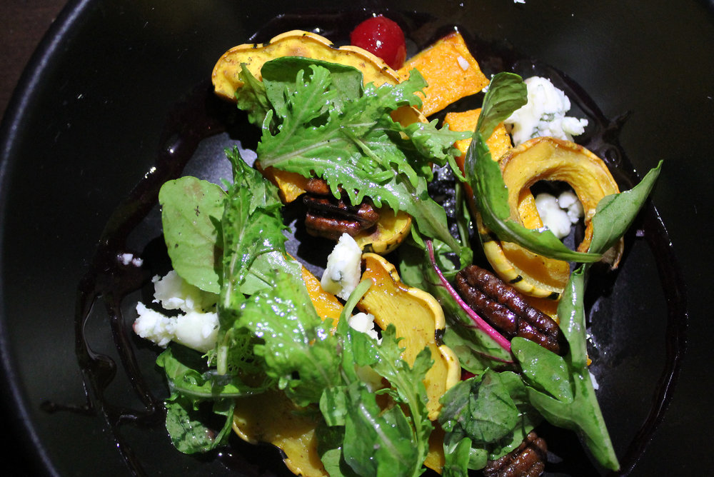 Winter Squash Salad: Cranberries, Candied Pecans, Gorgonzola, Arugula