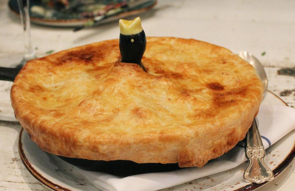 "CHICKEN ""POT PIE"": Vadouvan / Carrots / Cippolini Onions / Fingerling Potatoes / Dates / Harissa Yogurt"