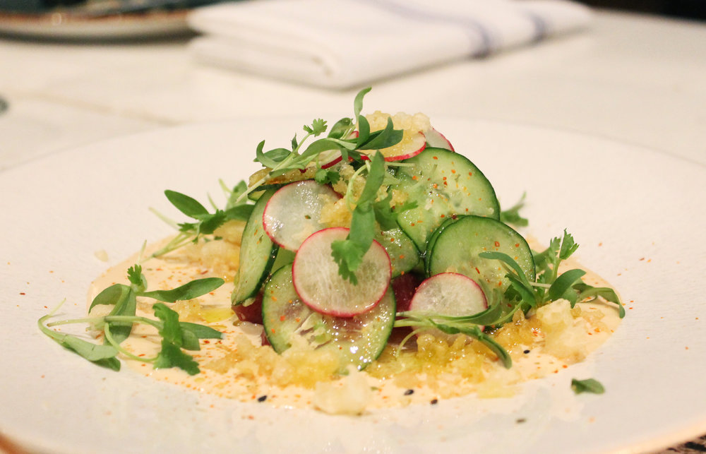 THE STUFFED AVOCADO: Tuna Tartare / Japanese Cucumber / Radish / Tempura / Ponzu Aioli