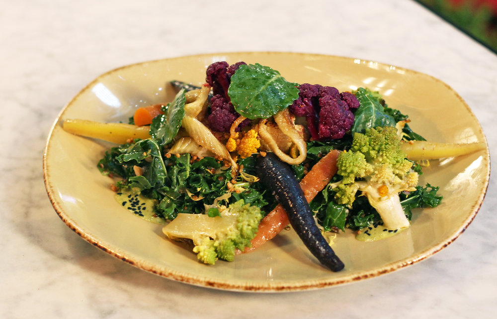 Quinoa & Roasted Vegetable Salad: Farrow, Kale, Green Tahini, Puffed Quinoa