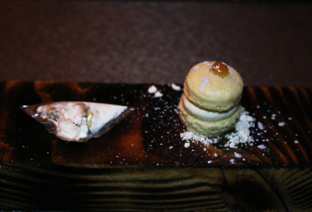 Amuse: Whipped Truffle Honey Comb Butter Cream Foie Gras Dime Bag on Left, Truffle Mac-Daddy on Right