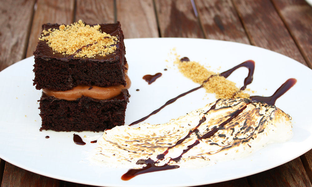S'mores Cake: chocolate cremeux, chocolate sauce, marshmallow, graham crumble