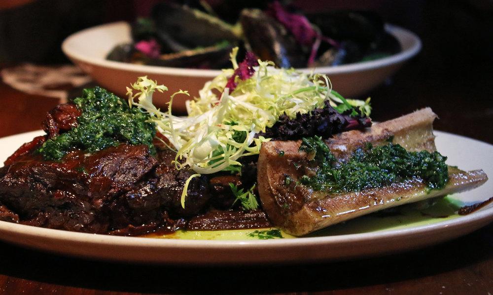 Braised Beef Cheek: Roasted Bone Marrow,Fig Puree & Pickled Shallots