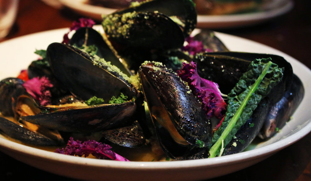 PEI Mussels: Wild Herb Aguachile & Charred Grilled Scallion
