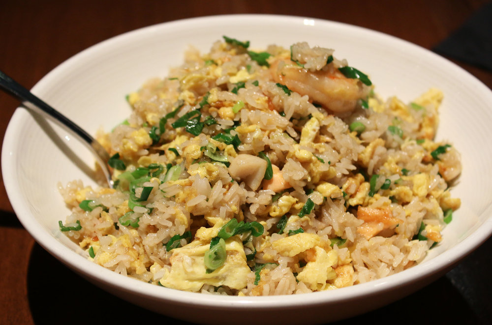 Seafood Fried Rice: shrimp, fish, crab, egg, green onion.