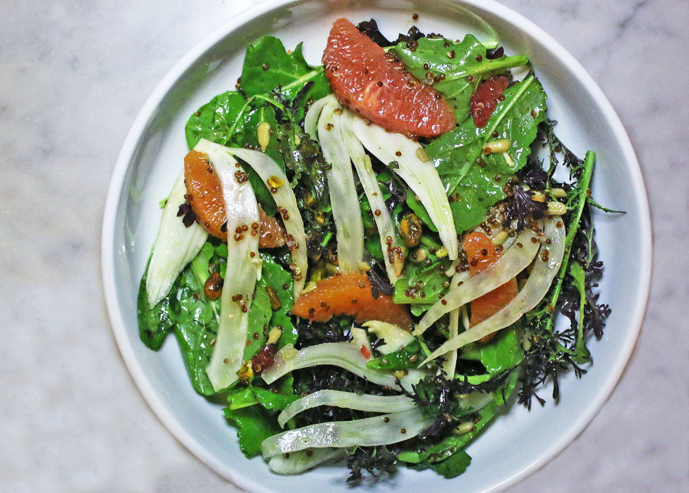 CITRUS & FENNEL SALAD: grapefruit, cara cara, blood orange, quinoa, greens, pistachio