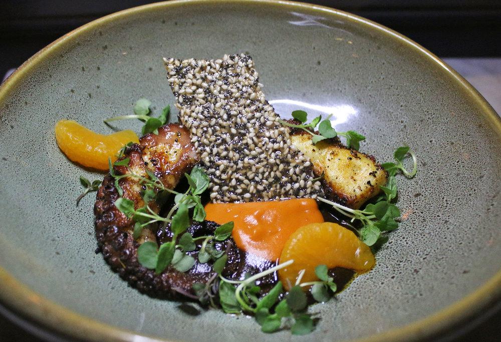 OCTOPUS : mole, sweet potato, satsuma, sesame tuile