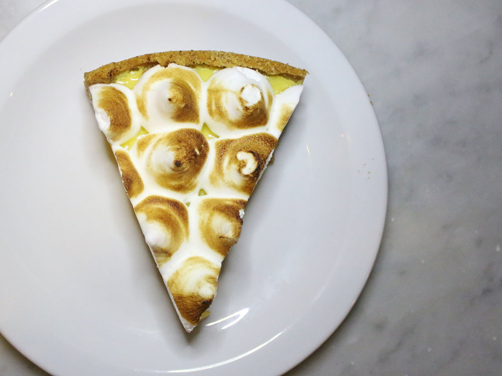 KEY LIME PIE: graham cracker crust, meringue