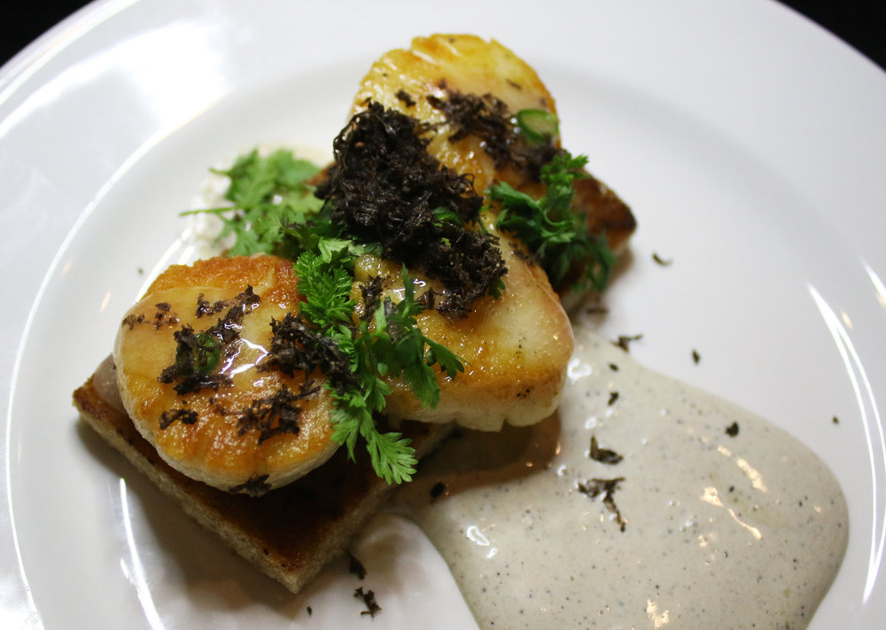 Scallops: Day Boat Scallops, Rye, Truffle Emulsion, Lemon, Thai Chili