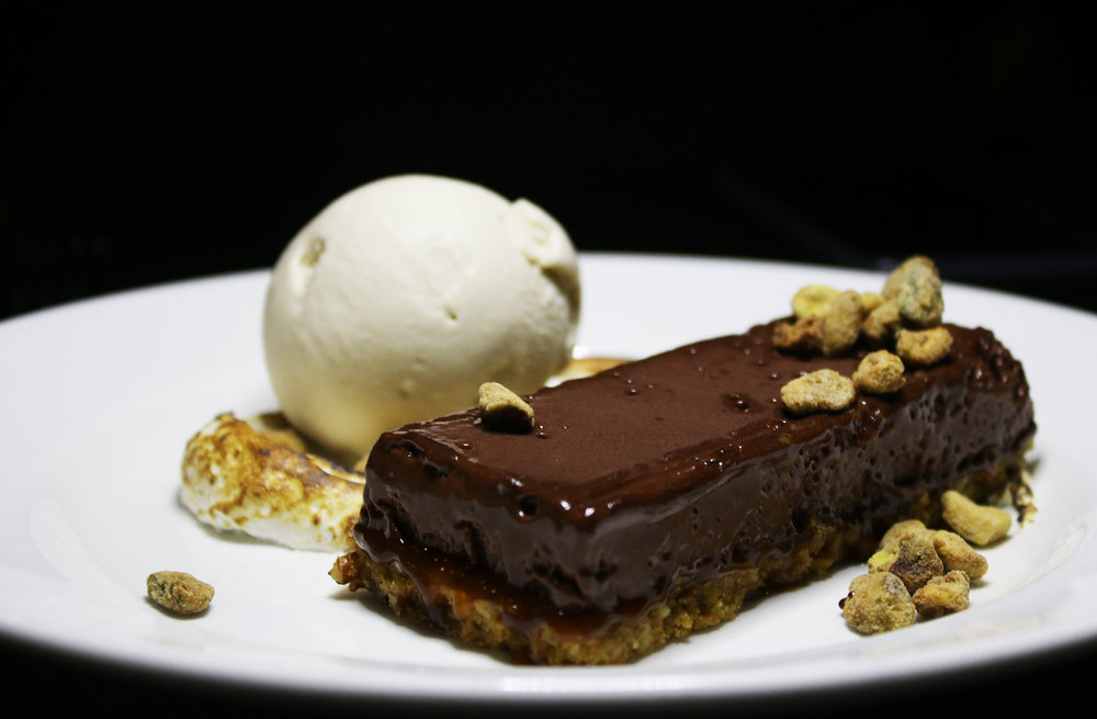 Chocolate Bar: Pretzel Crust, Candied Pistachios, Toasted Marshmallow, Salted Caramel Ice Cream