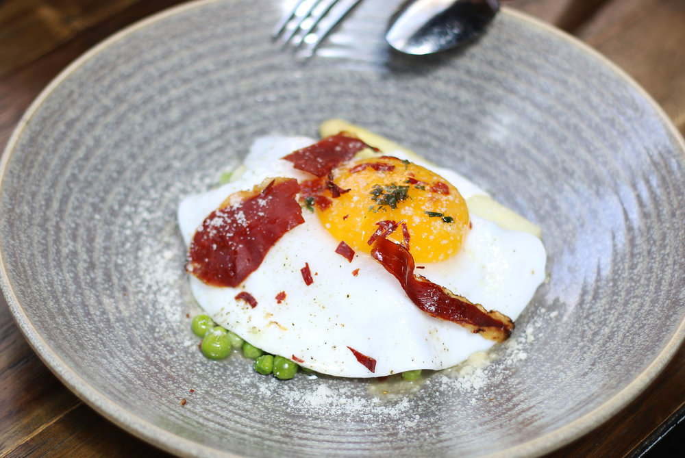 Asparagus with a Fried Egg, Peas, and Bacon