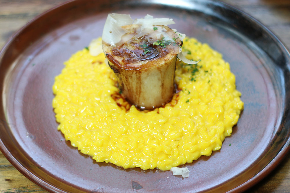 MILANESE Risotto:  vialone nano igp rice, saffron, wood oven roasted bone marrow, raspadura