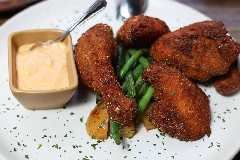 POLLASTRO FRITTO breaded & fried mary's chicken, grilled seasonal vegetables, spicy aioli