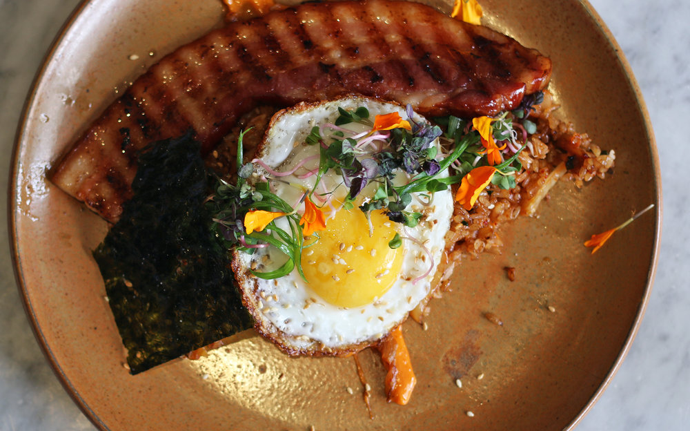 KIMCHI FRIED RICE: Grilled Bacon. Fried Egg. Chili Paste. Scallions