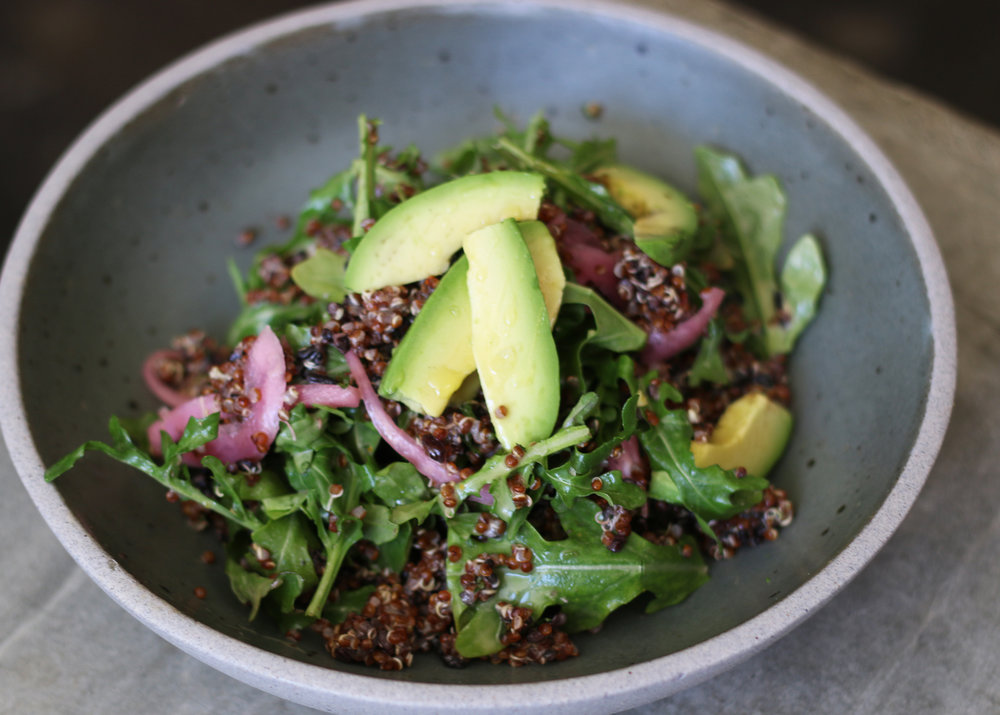 Grain Bowl : Quinoa, Arugula, Avocado, Pickled Onions