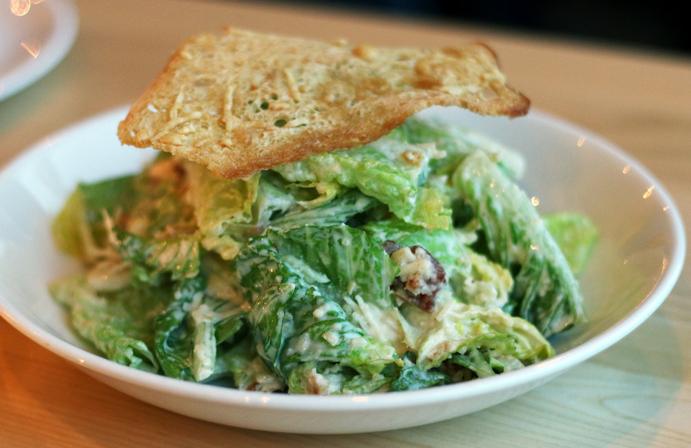 CAESAR SALAD WITH NIMAN RANCH ALL NATURAL BACON organic romaine, grana padano crisps