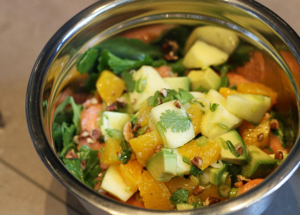 Citrus Kale Salad : Mandarins, Apples, Avocado, Pecans, Spring Onions