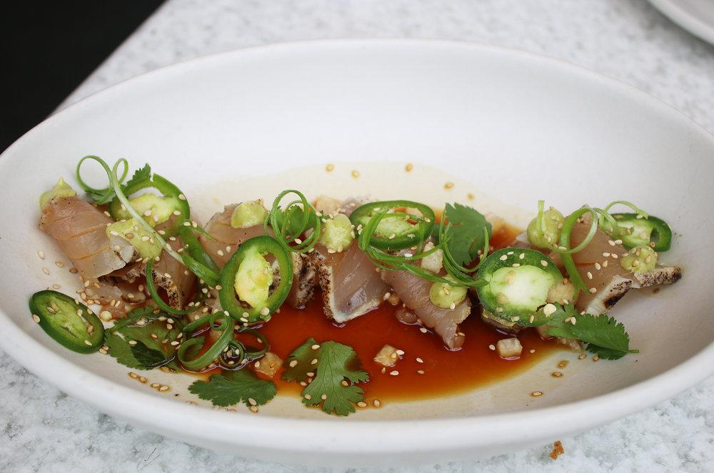 Wild Caught Albacore Tataki: avocado, jalapeño, toasted sesame, yuzu ponzu