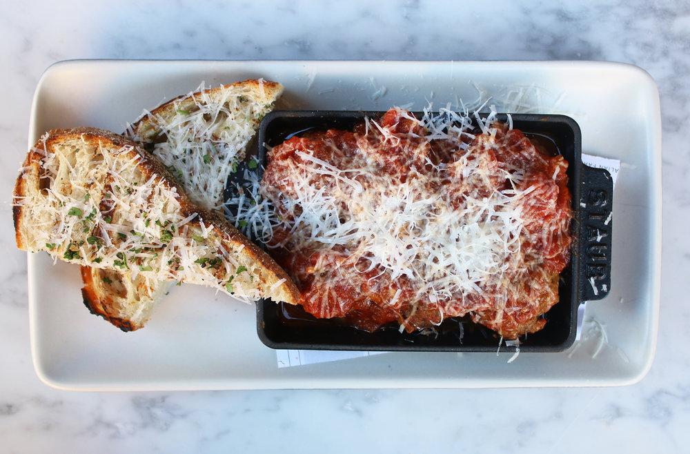 ITALIAN MEATBALLS: marinara, pecorino, grilled bread