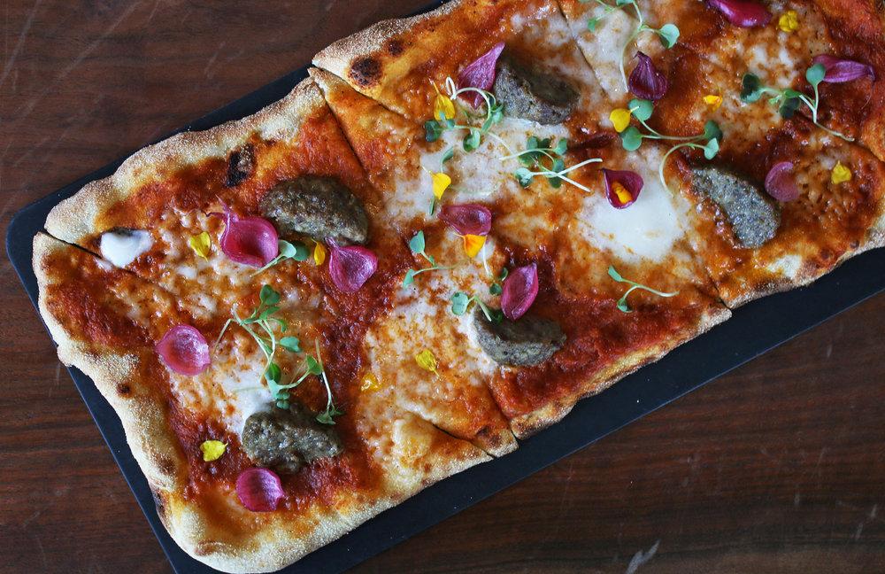 MEATBALL: marinara, burrata, pickled red onion, marigold