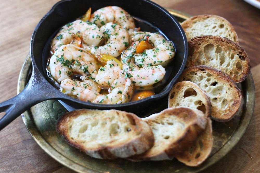 Gambas: olive-oil poached, gulf prawn, kumquat, garlic, chili, grilled bread