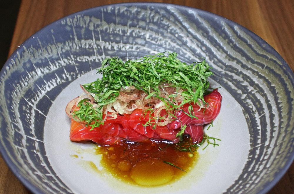 Beet salmon belly sashimi: ora king salmon,myoga,aged ponzu