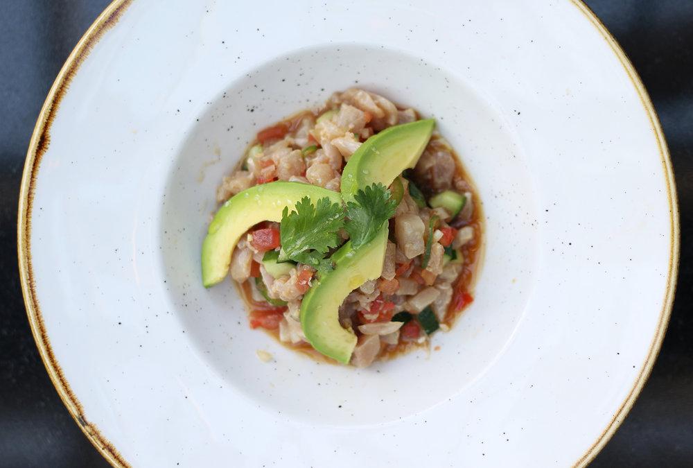 Ceviche of the Day :Tostada, avocado, mayo