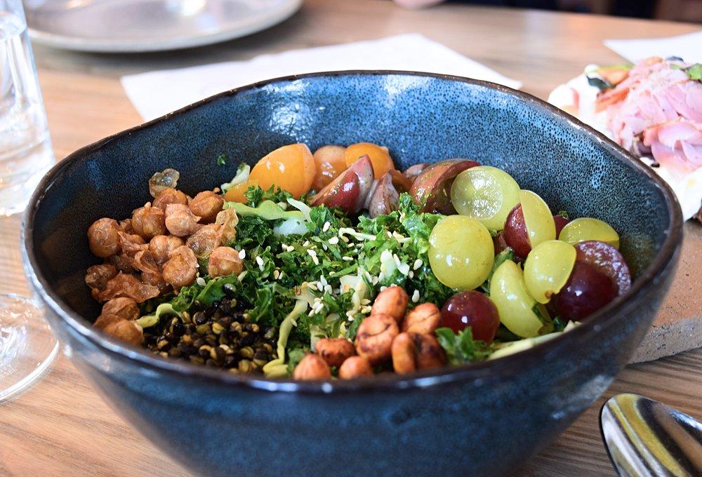 Kale Salad: Kale, Cabbage, Lentils, Peanuts, Garbanzos, Grapes, Tomatoes