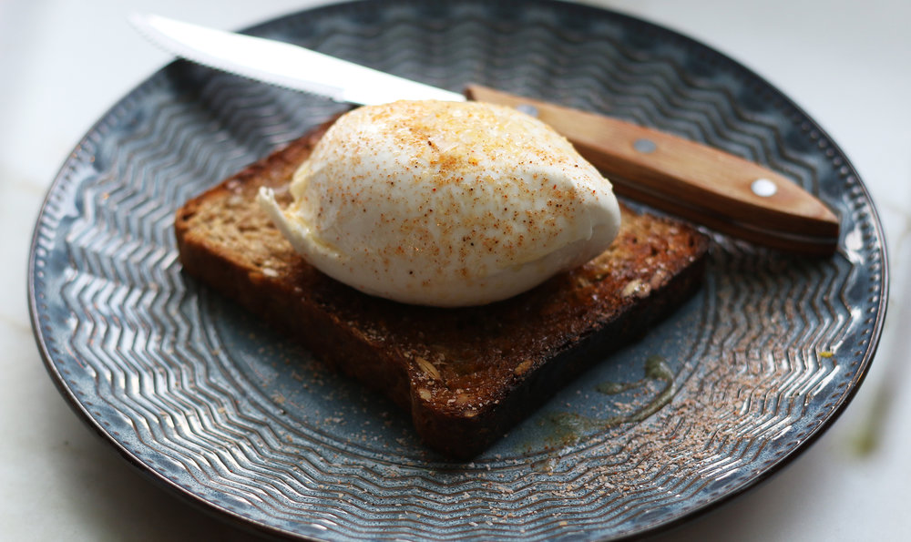 Milk & Honey : Fresh Burrata, Grilled Seven Grain Bread, Local Honey, XVirgin, Smoked Chili Salt