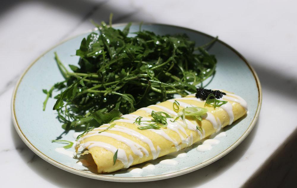 DUCK EGG OMELET farm eggs, caviar, chives, crème fraiche