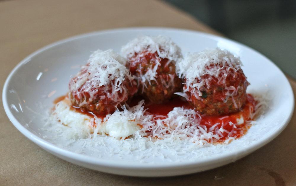POLPETTE : meatballs al forno, tomato, tomato sugo & ricotta