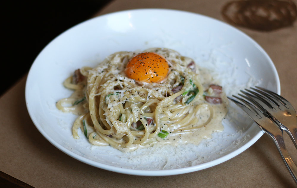 BUCATINI CARBONARA :  pancetta, egg yolk, black pepper & pecorino