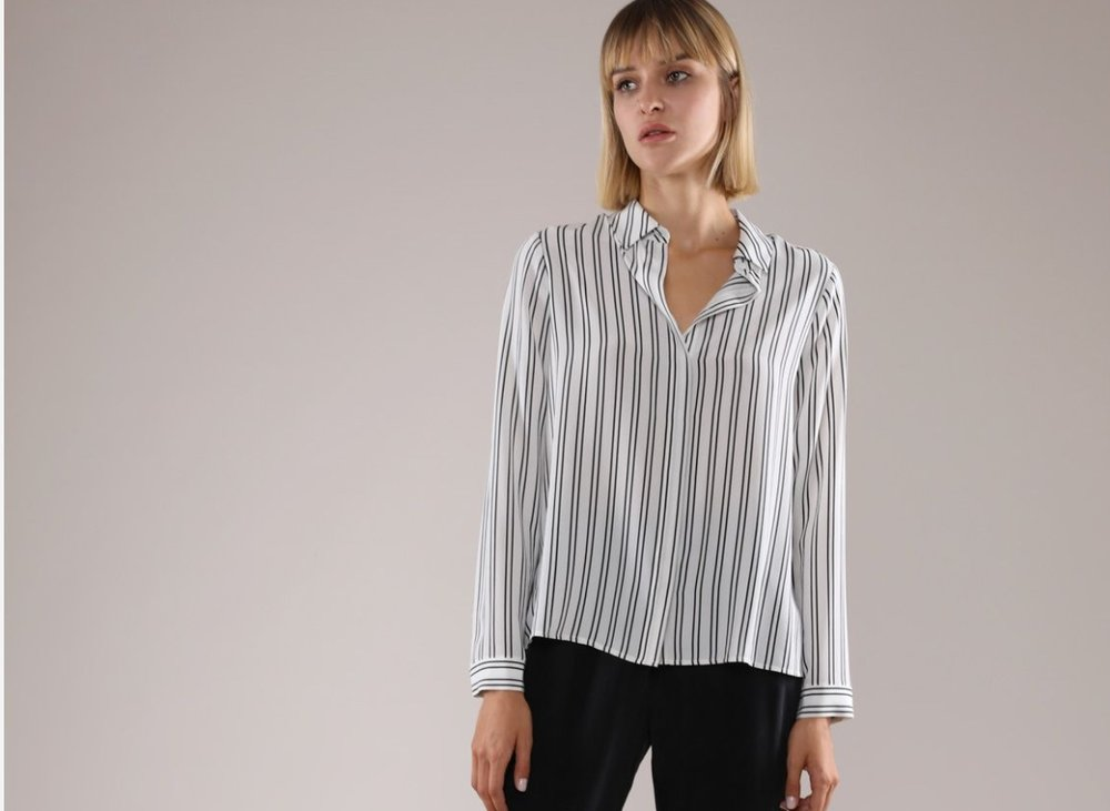 Silk Stripe Long Sleeve Shirt, $75.00