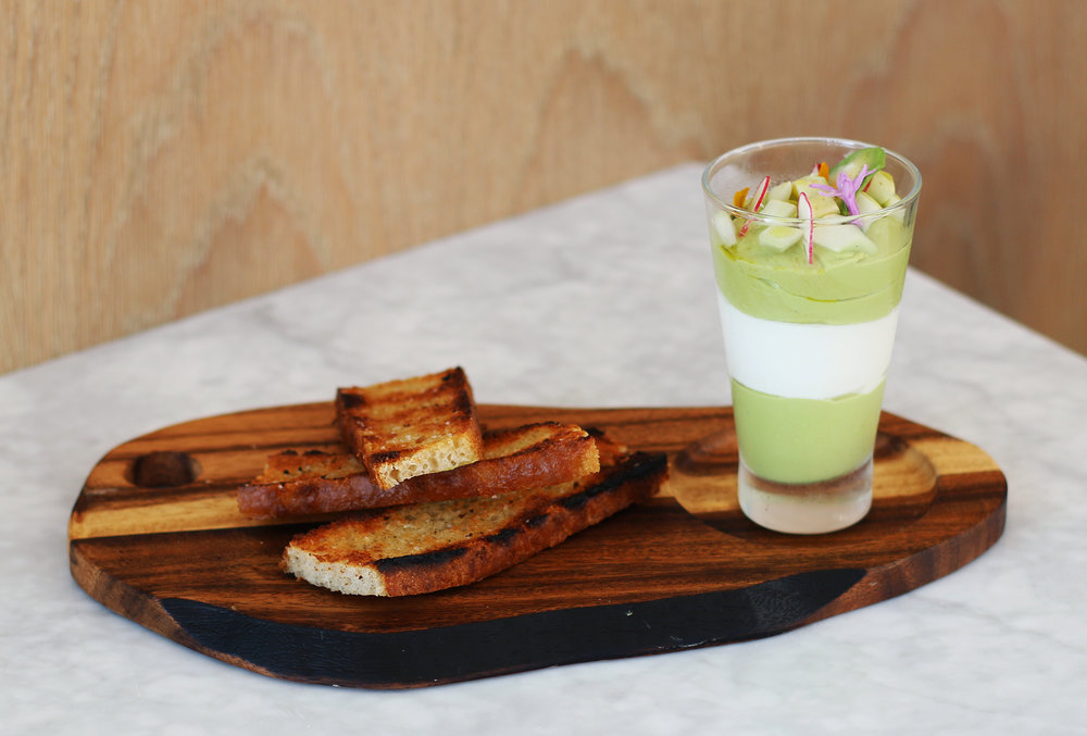 Avocado Parfait : Straus yogurt, cucumber, housemade focaccia