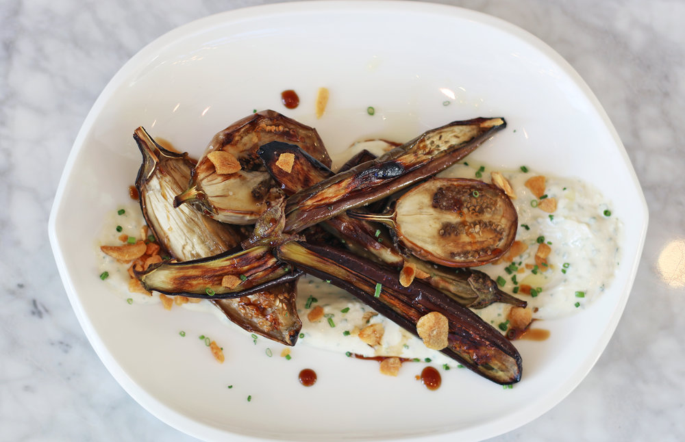 Heirloom Eggplant: Tahini-yogurt, garlic, pomegranate molasses