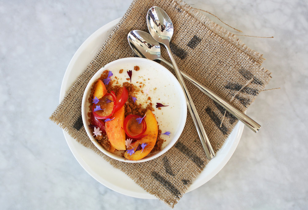 Buttermilk Panna Cotta: Stone fruit, gingerbread crumble