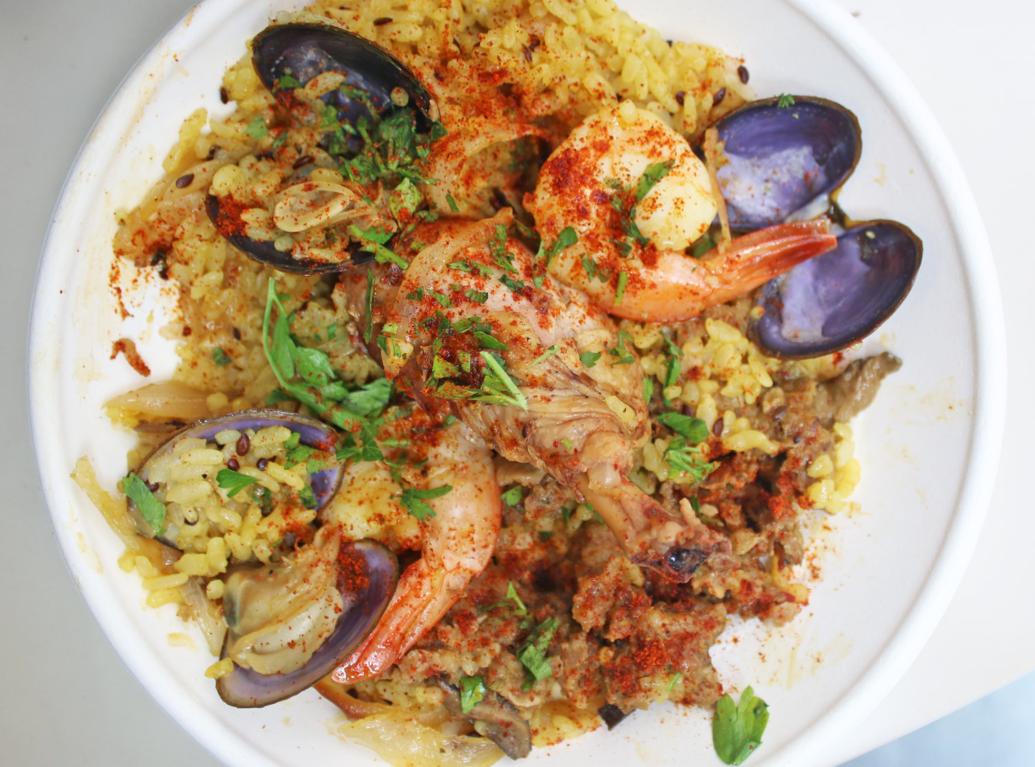 Paella from Prawn at Grand Central Market