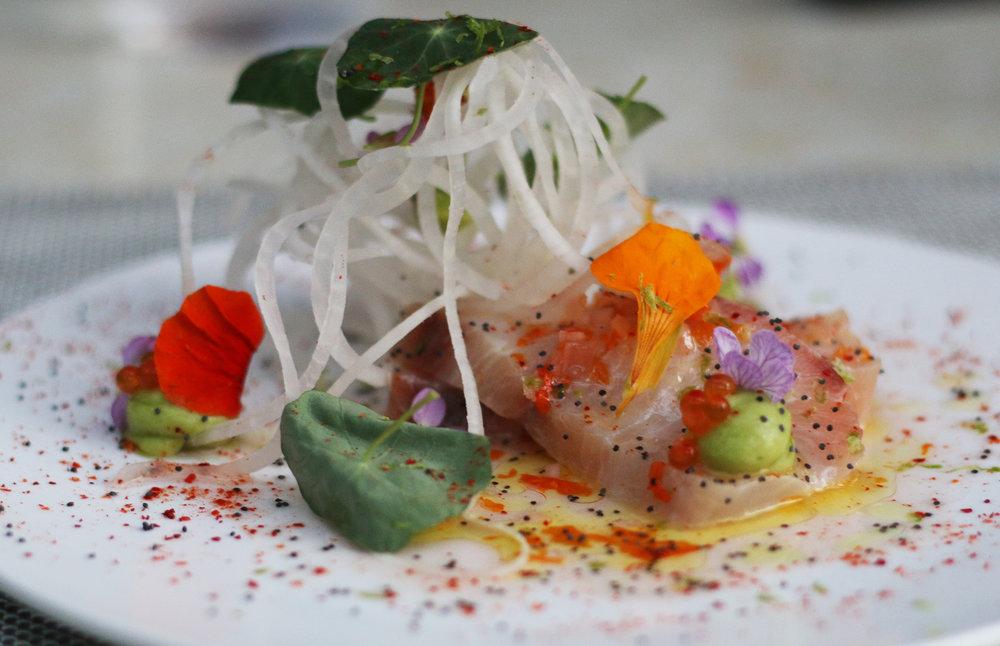 Hamachi Sashimi: daikon, avocado, nasturtium, golden trout roe