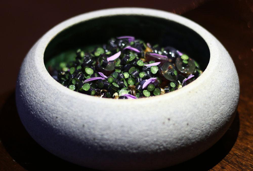Ancient Grains : Eggplant Cream, Grape, Lavender Beans